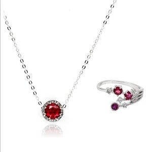 Temperament red crystal necklace ring set